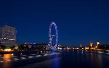lights, the evening, uk, london, ferris wheel, england, architecture, building, highway, capital