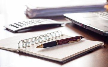 ручка, стол, офис, компьютер, блокнот, книжка