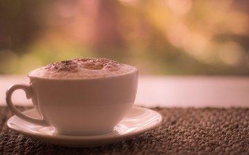 корица, кофе, блюдце, чашка, пенка, латте, morning coffee