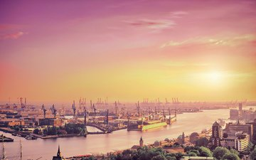 небо, река, солнце, лондон, город, англия, порт, краны
