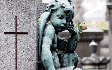 ангел, cvetok, skulptura, krest