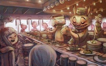арт, аниме, бар, суши, personazhi