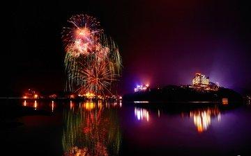 ночь, огни, озеро, отражение, салют, город, праздник, фейерверк
