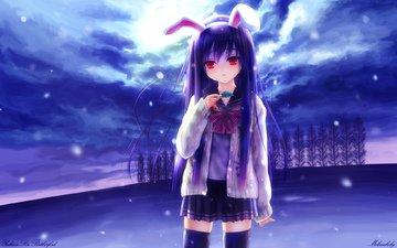 небо, облака, снег, девушка, аниме, ушки