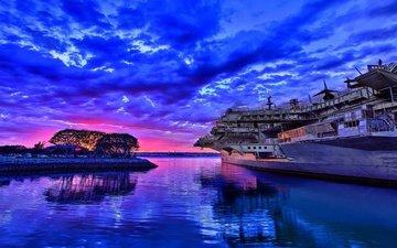 вода, берег, закат, отражение, корабль, авианосец