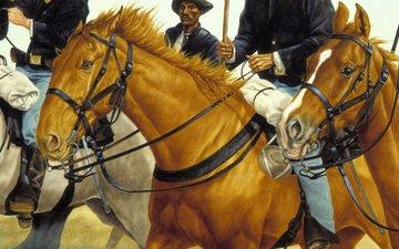 оружие, солдаты, америка, флаг, лошади