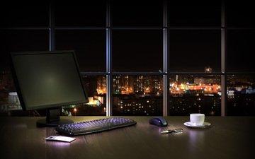 ночь, интерьер, рабочий стол, окно, компьютер, кабинет, городской пейзаж