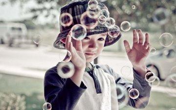 настроение, дети, мальчик, мыльные пузыри