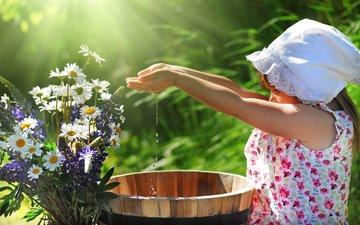 cvety, kapli, devochka, voda, ladoni, ro, пллаток, сарафанчики