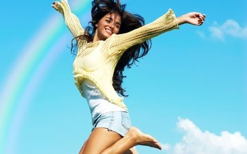 girl, raduga, radost