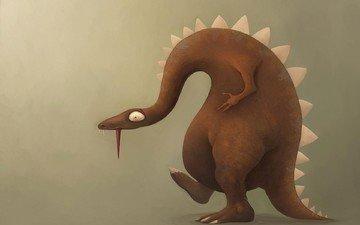 fon, dinozavr, yashher, yazyk, profil, рисоунок