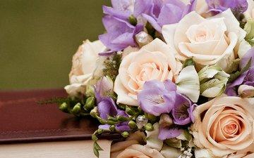 цветы, бутоны, розы, лепестки, букет, блокнот, cvety, svadba, kniga, оформление