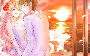 цветы, закат, девушка, море, парень, пара, ветер, эмоции, невеста, фата, еще, para, paren, radost, nevesta, za, yemocii