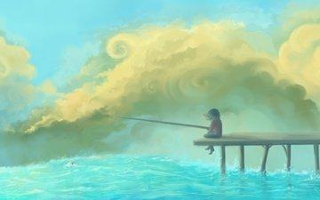 nebo, devochka, reka, prichal, udochka, oblaka