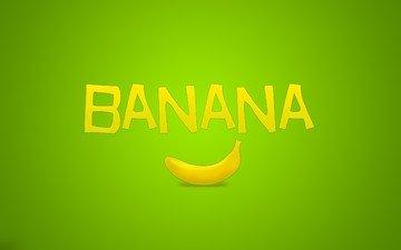 zelyonyj, nadpis, minimalizm, banan, frukt
