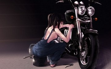 девушка, motocikl