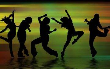 teni, muzyka, lyudi, tanec, siluyety, figury, tancy, dviz