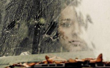 рука, девушка, машина, дождь, лицо, стекло, listya, gryaz, steklo, abstrakciya