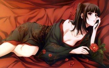 девушка, кимоно, cvetok