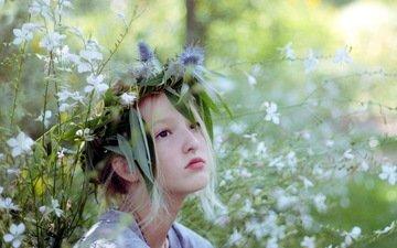 cvety, krasota, leto, devochka, nastroenie