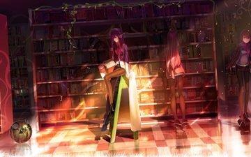 девушка, робот, нвушники, svet, knigi, steins gate, biblioteka