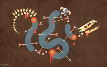 drakon, bumaga, tekstura, strely, shlem, risunok