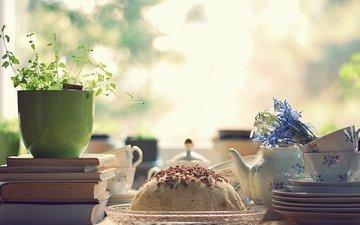 зи, cvety, utro, stol, knigi, serviz, tort, posuda, chashki