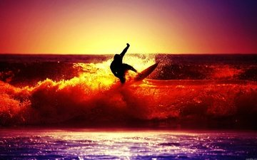 wave, sunset, sea, surfing