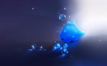 свет, арт, синий, динозавр, кристаллы, пузырь, apofiss, сердецко, svet, sinij, dinozavr, puzyr, kristally