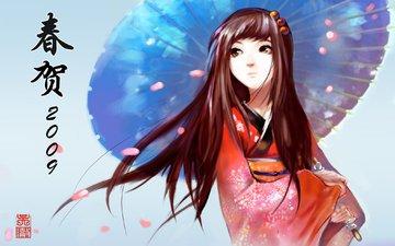 девушка, кимоно, zont, леспестки, взгляз
