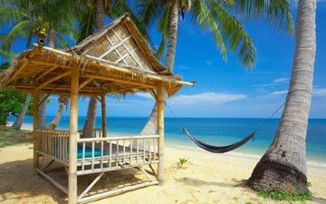 пляж, пальмы, океан, отдых