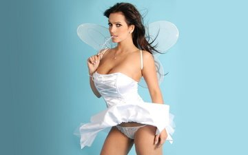 girl, brunette, fairy, denis milani, in white, denise milani, model in white