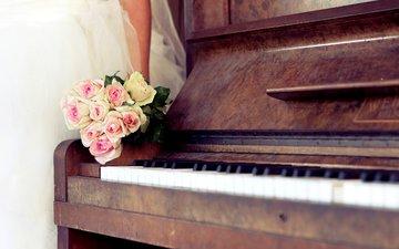rozy, buket, svadba, пионино, дощечка