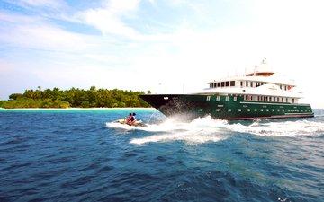 яхта, остров, тропики, мальдивы