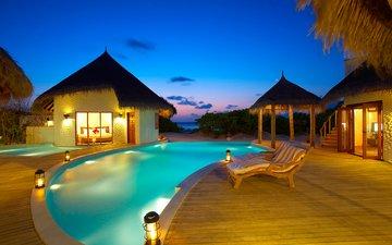 бассейн, бунгало, тропики, мальдивы