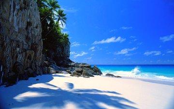 скалы, пляж, тропики