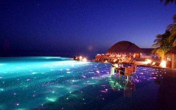 вечер, курорт, тропики, мальдивы