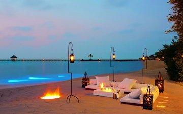 вечер, пляж, тропики, мальдивы