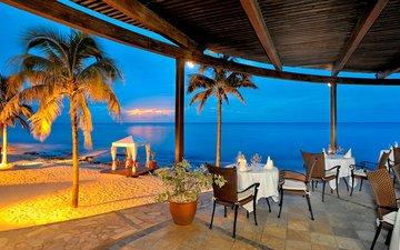 закат, пляж, курорт, тропики, мальдивы