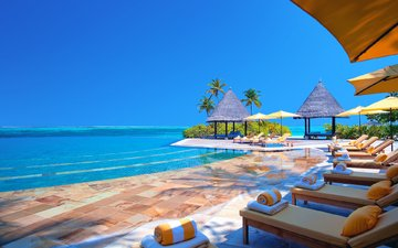 resort, sunbeds, tropics, the maldives