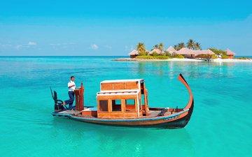 лодка, остров, тропики, мальдивы