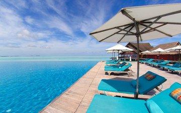 курорт, лежаки, тропики, мальдивы