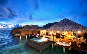 the evening, bungalow, tropics, the maldives