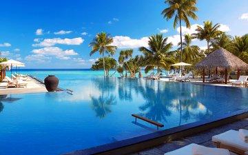 пляж, бассейн, тропики, мальдивы
