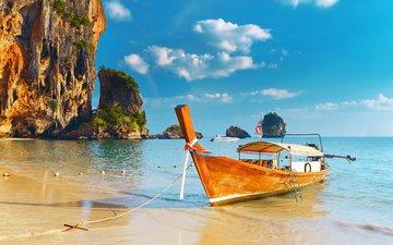 скалы, пляж, лодка, таиланд, тропики