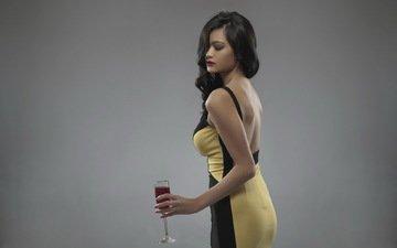 девушка, фон, брюнетка, бокал, вино