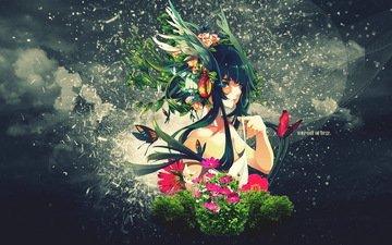 арт, девушка, cvety, nadpis, kollazh, рисоунок
