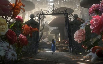 flowers, gate, alice in wonderland, tale, lewis carroll