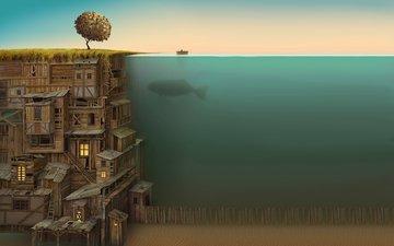 кит, derevo, zabor, dom, pod vodoj, okna, lodka, dno