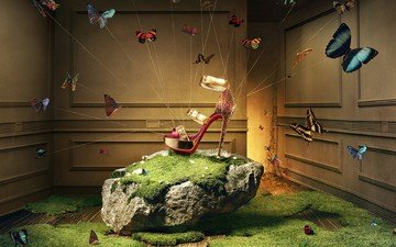 grass, lights, magic, room, moss, butterfly, sandals, khuong nguyen, christian louboutin, advertising shoes